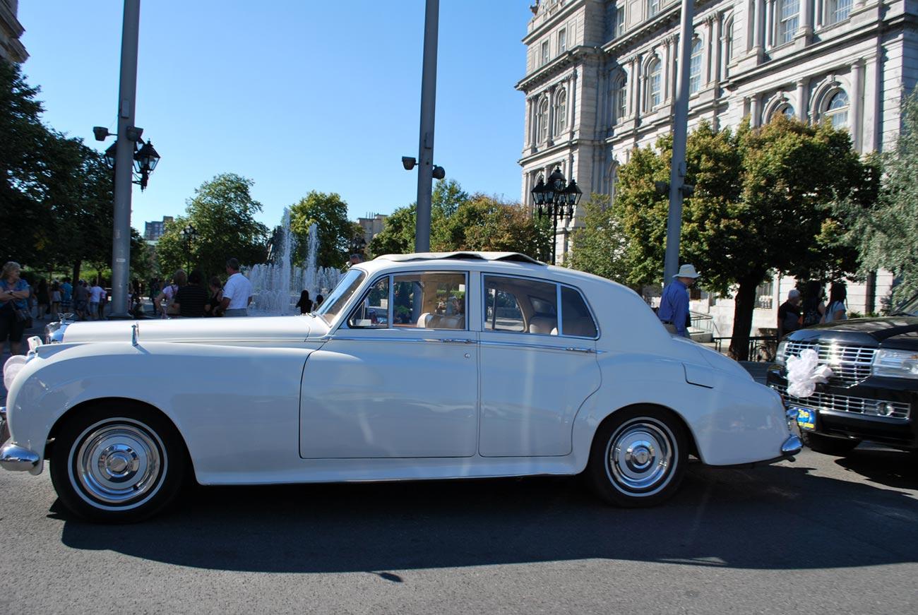 retro white car