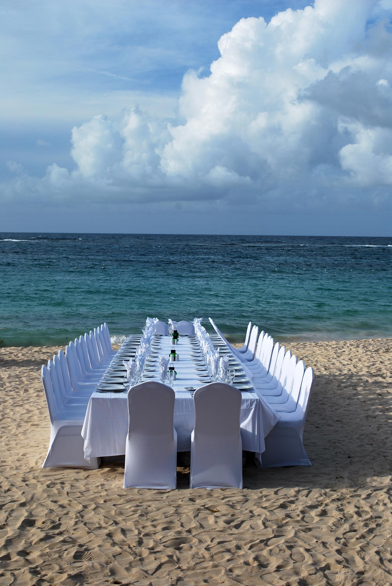 decorated beach table