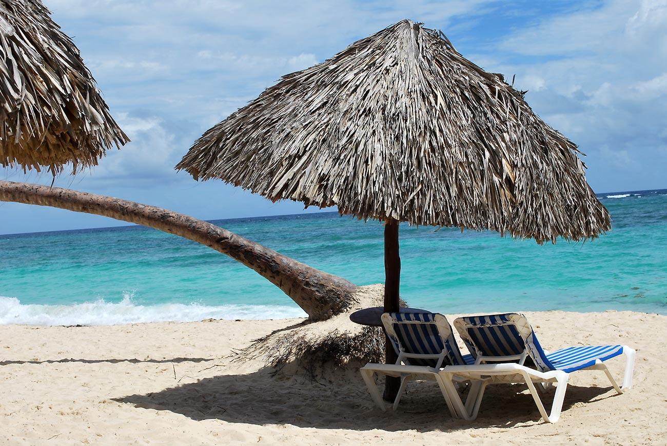 sunchairs on tropical beach