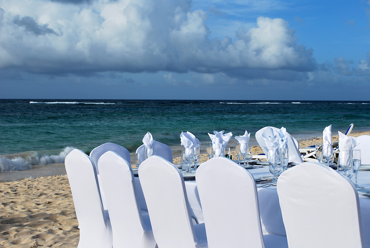 decorated anniversary set on tropical beach