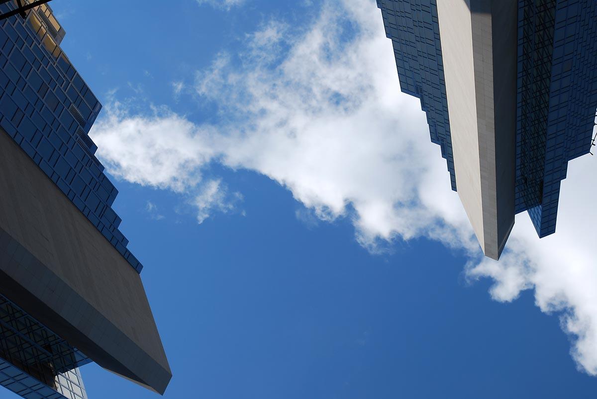 sky through the buildings