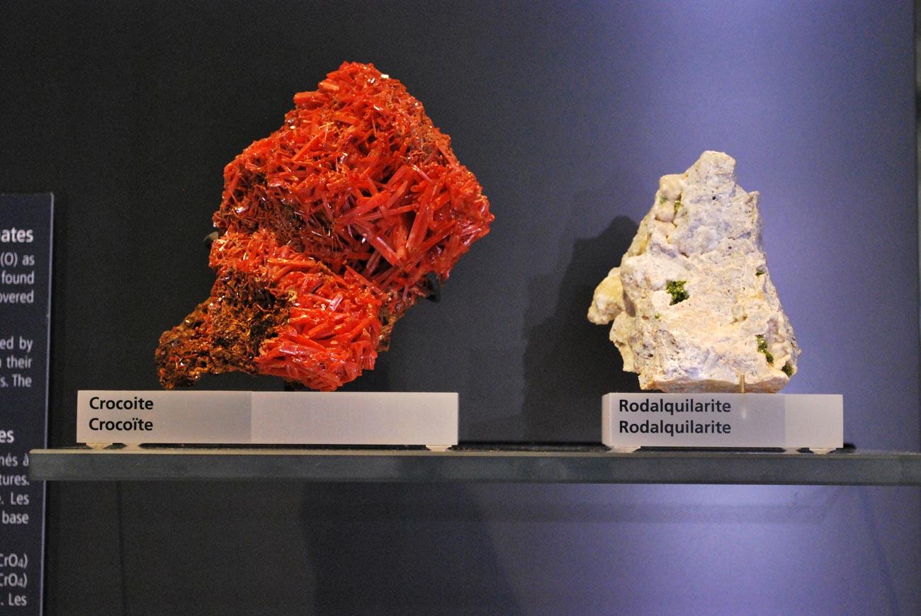 crocoite and rodalquilarite minerals