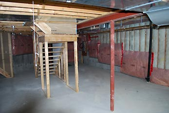 construction stairs in basement