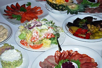salads on banquet table