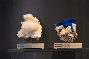 mesolite and cavansite minerals
