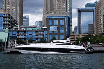 luxury boat at dock