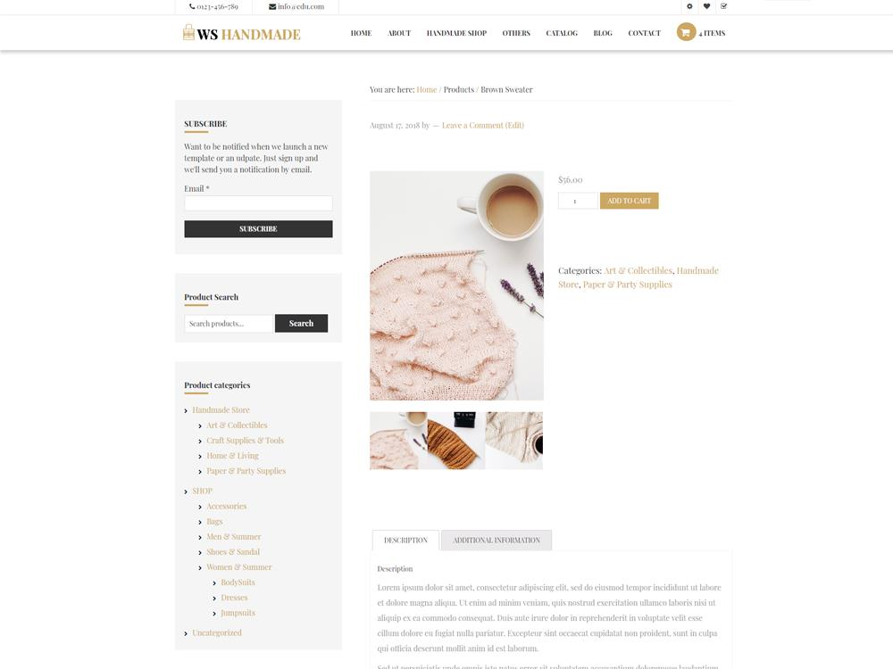 WS Artisan woocommerce wordpress Product Page