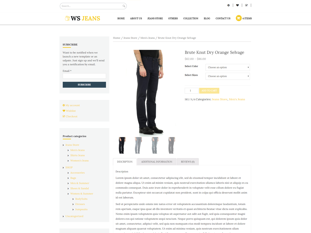 WS Fashion woocommerce wordpress Product Page