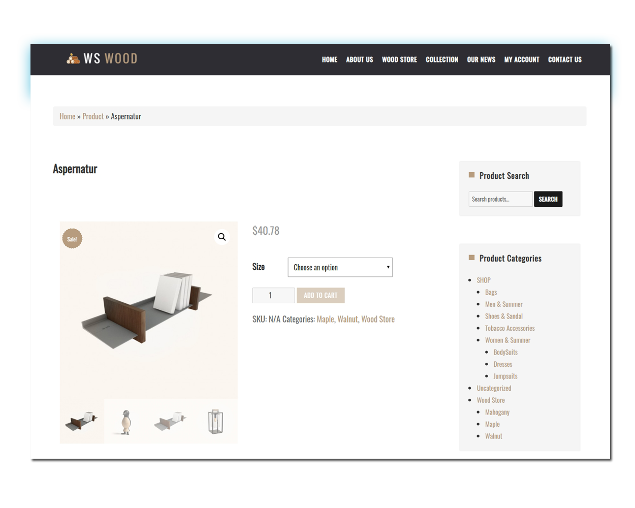 WS Carpenter woocommerce wordpress Product Page