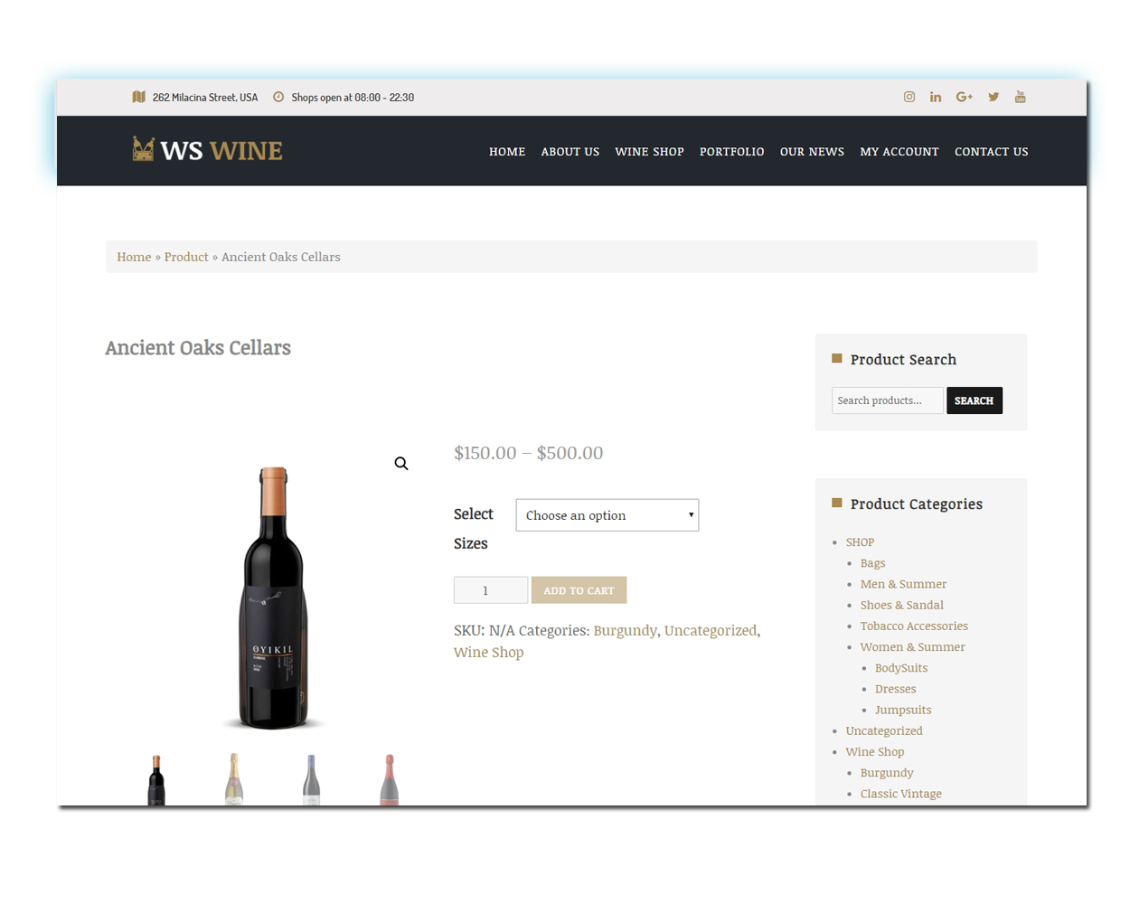 WS Wine woocommerce wordpress Product Page