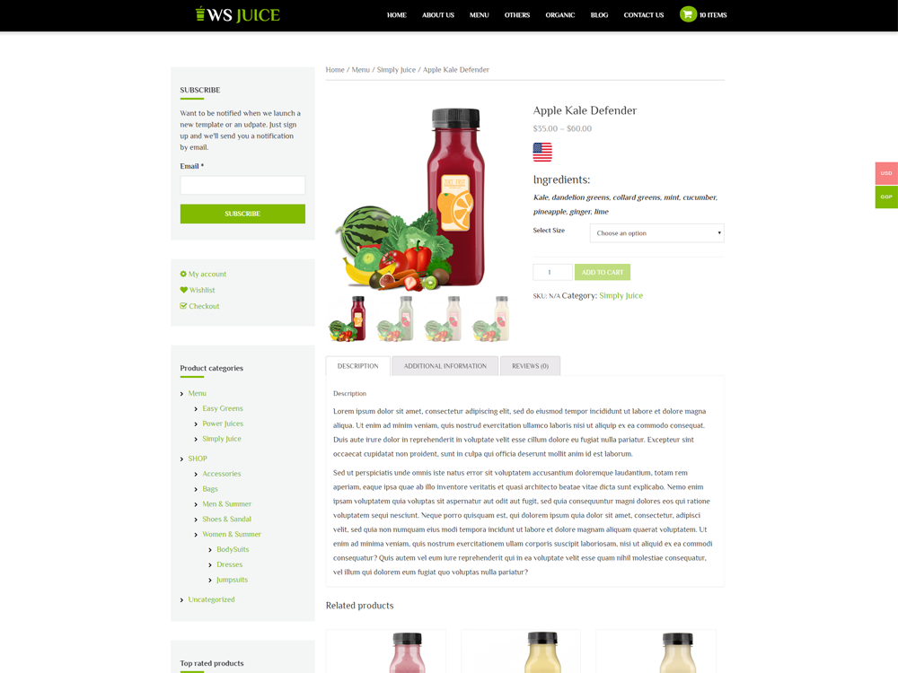 WS Smoothie woocommerce wordpress Product Page