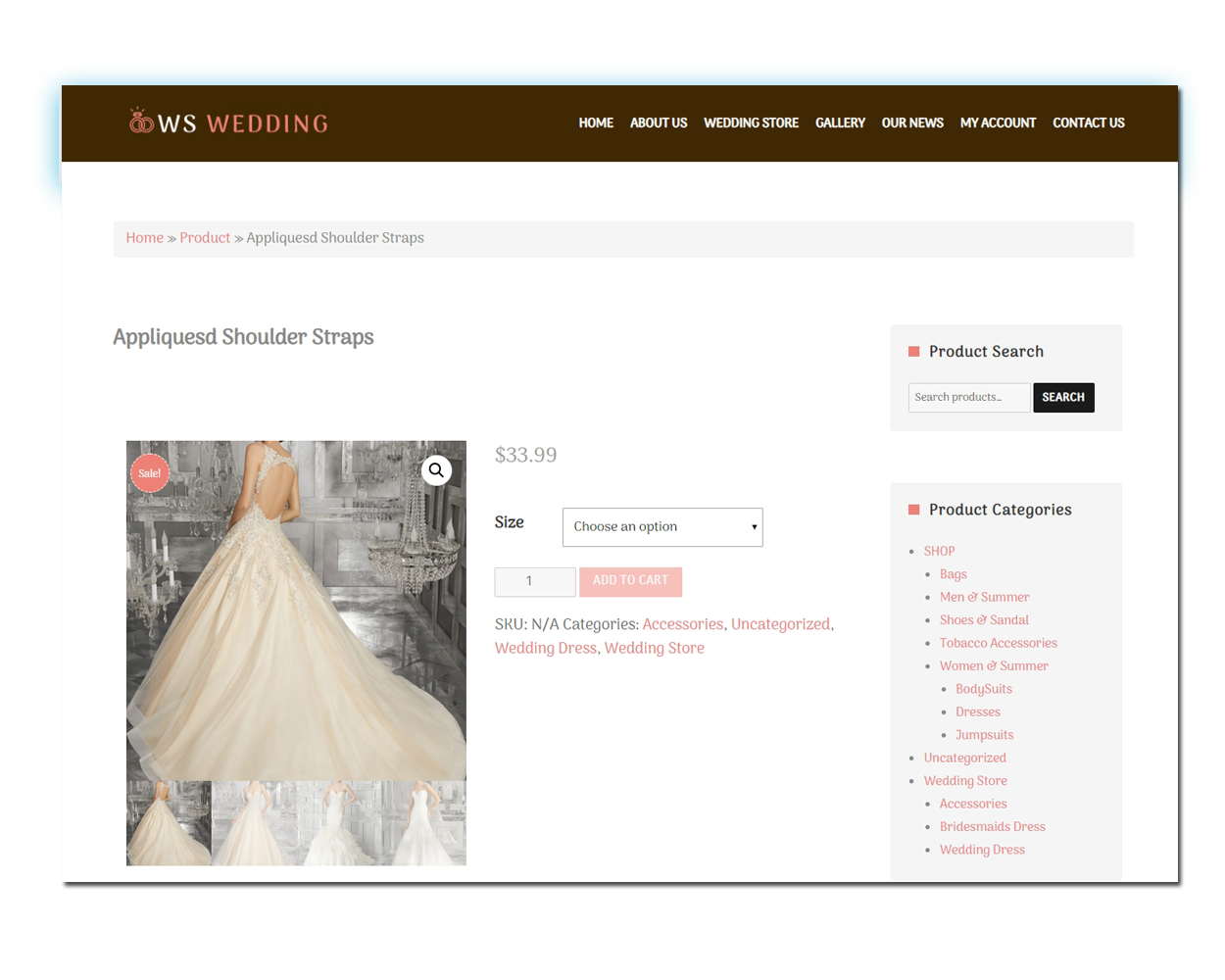 WS Wedding woocommerce wordpress Product Page