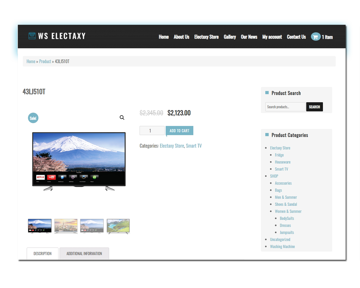 WS Electronics woocommerce wordpress Product Page