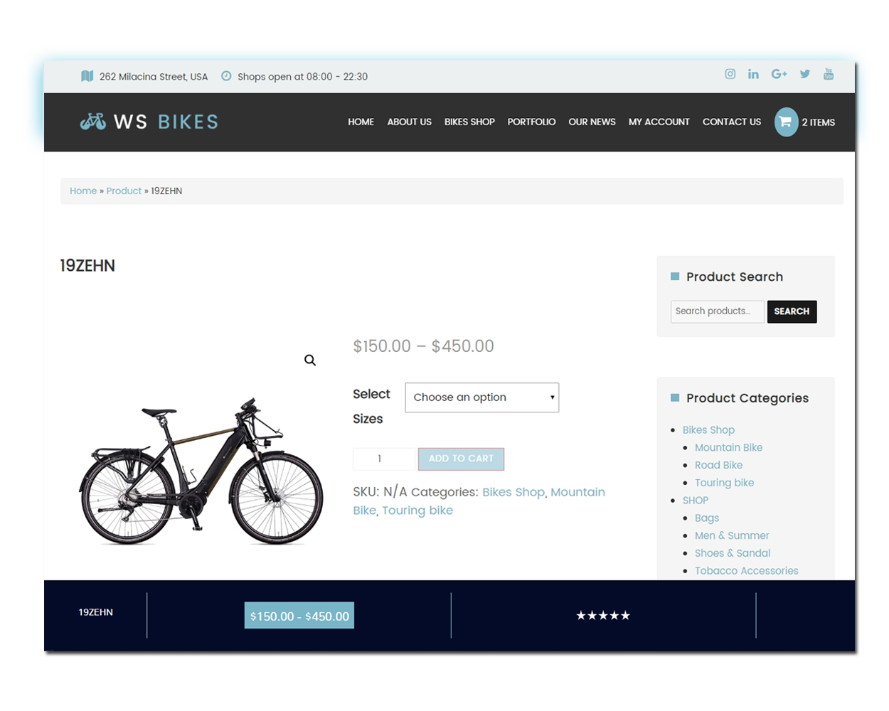 WS Bikes woocommerce wordpress Product Page