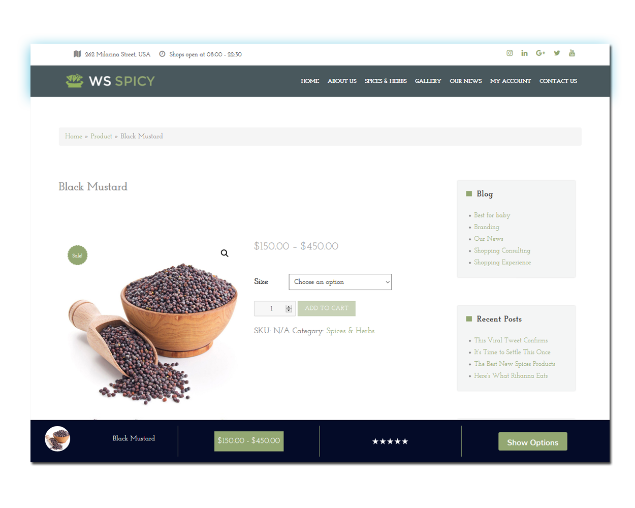 WS Spices Store woocommerce wordpress Product Page