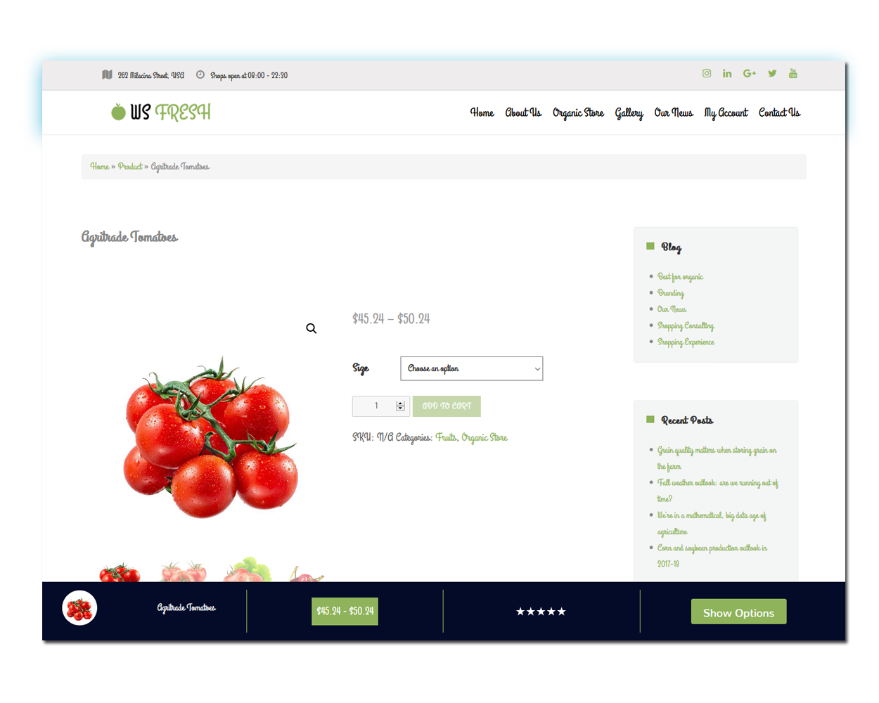 WS Agriculture woocommerce wordpress Product Page