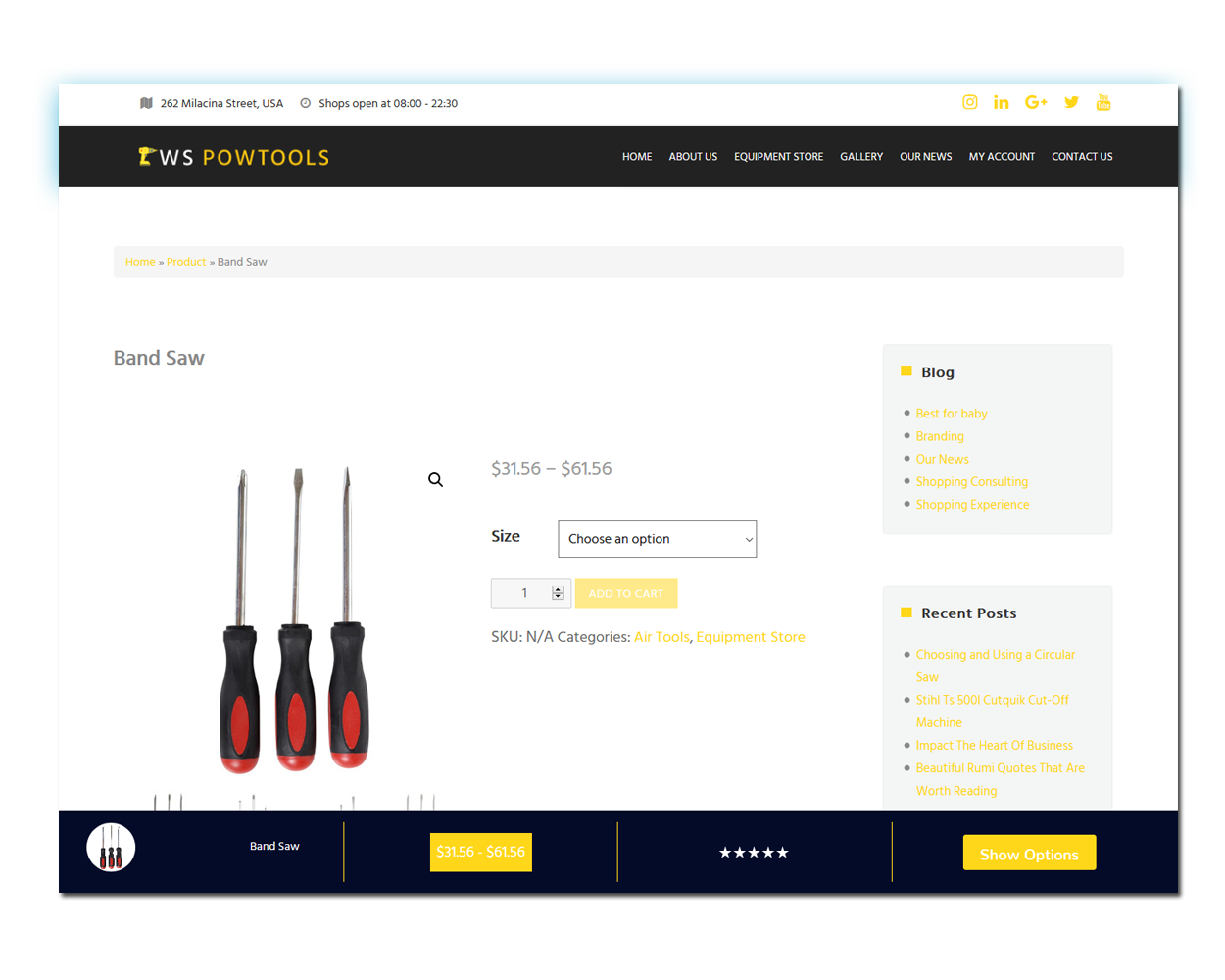 WS Equipment woocommerce wordpress Product Page