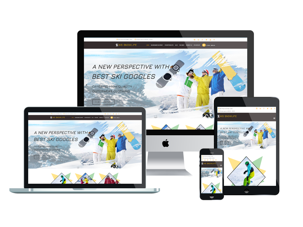 Snowboarding WooCommerce  Wordpress mobile theme