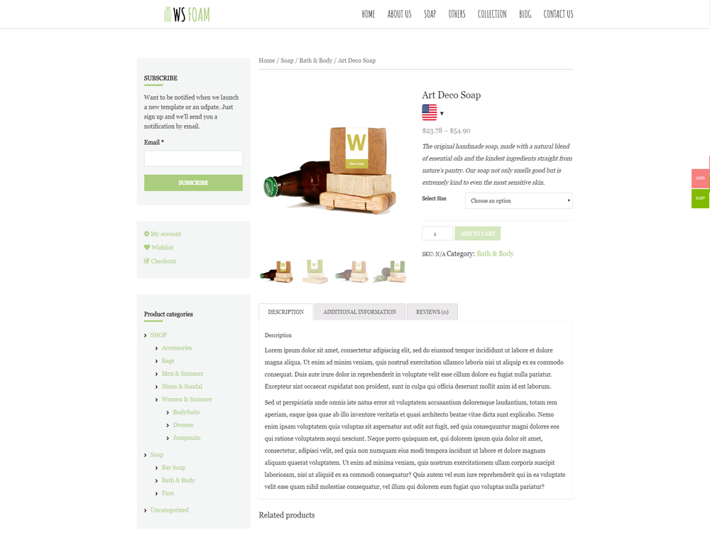 WS Beauty woocommerce wordpress Product Page