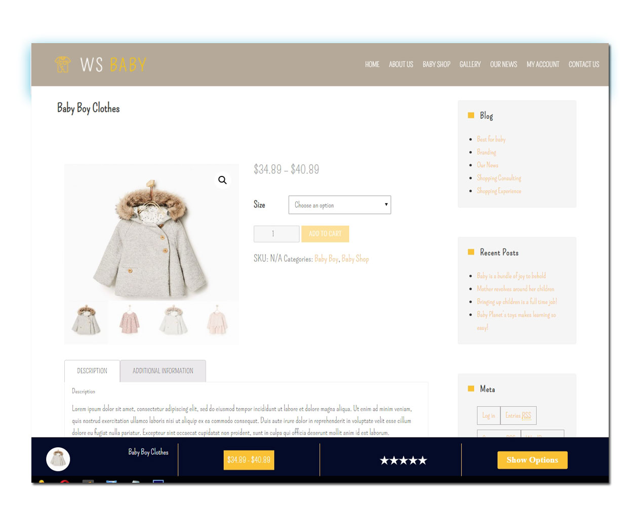 WS Baby Store woocommerce wordpress Product Page