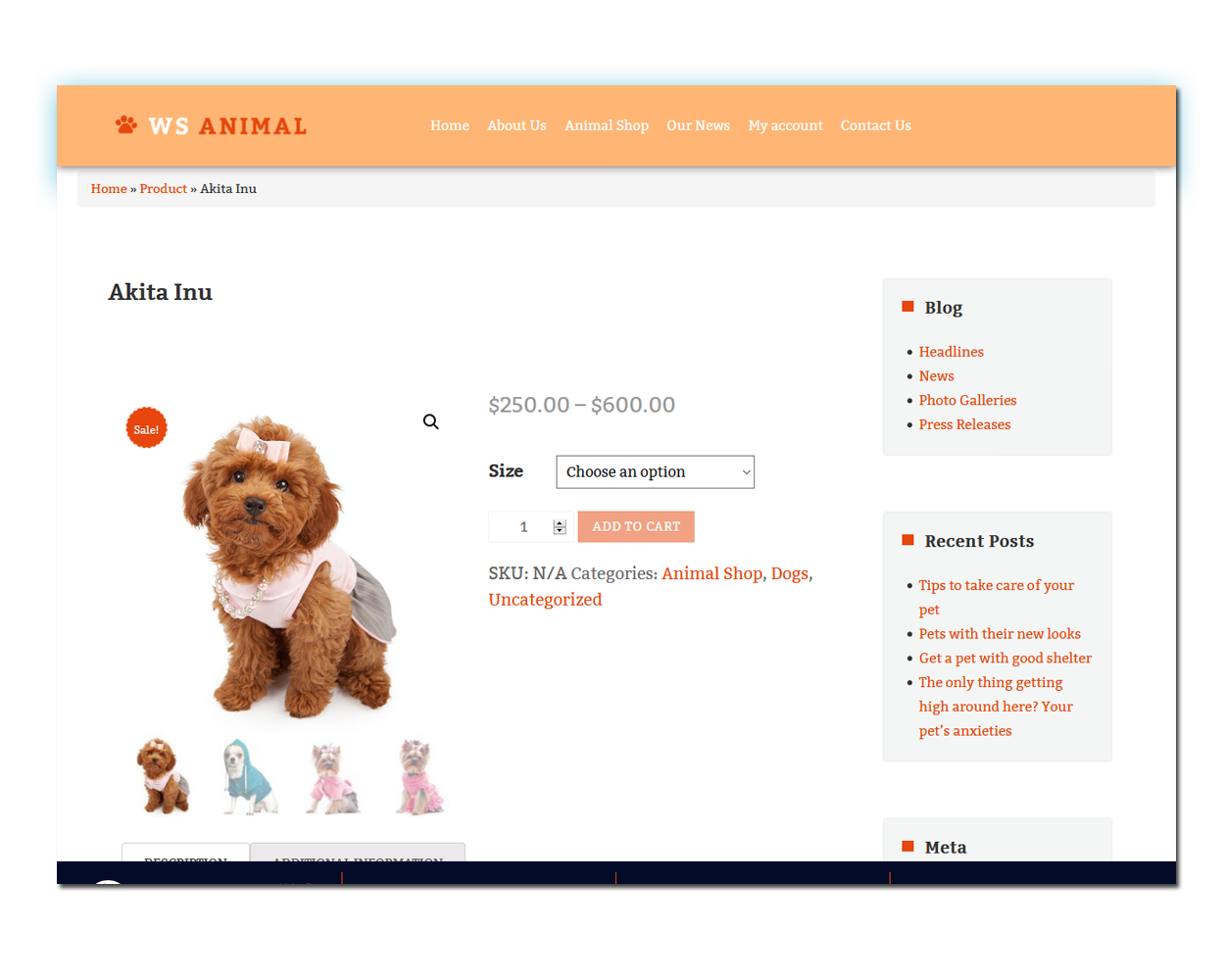 WS Pet Store woocommerce wordpress Product Page