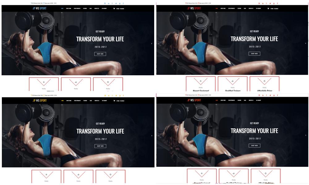 Fitness Equipment WooCommerce  Wordpress color layouts