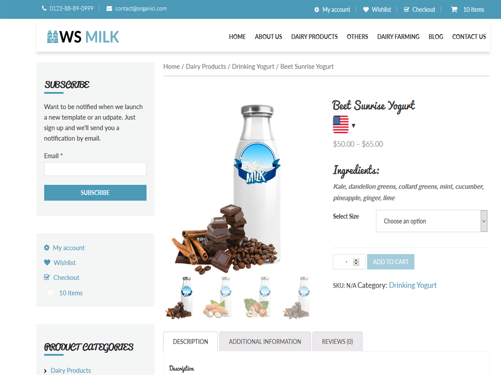 WS Dairy woocommerce wordpress Product Page
