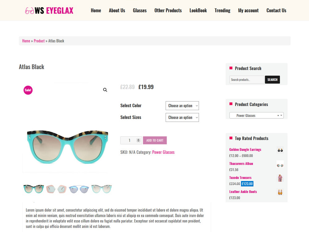 Eyeglax WooCommerce Product Page