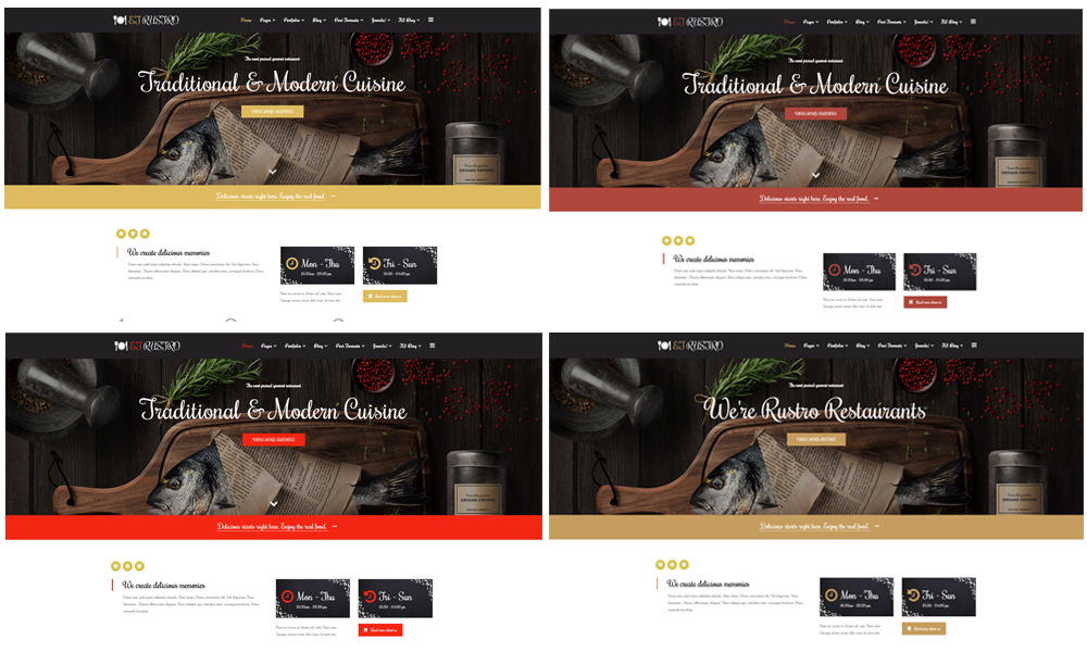 Restaurant WooCommerce  Wordpress color layouts