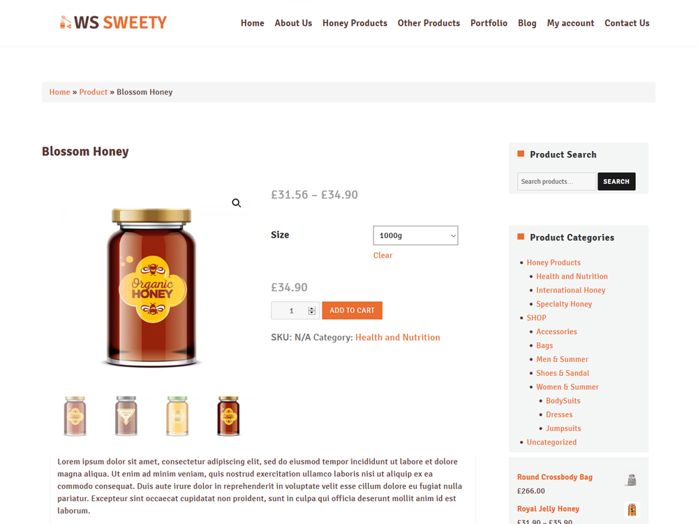 Honey WooCommerce Product Page