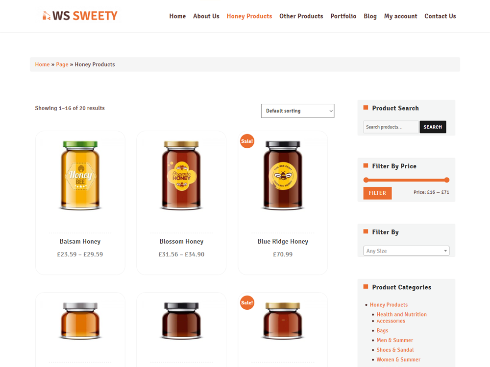 Honey WooCommerce free theme