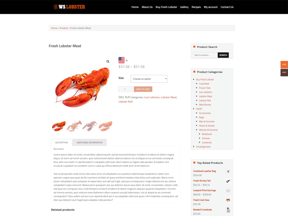 Restaurant Product Page