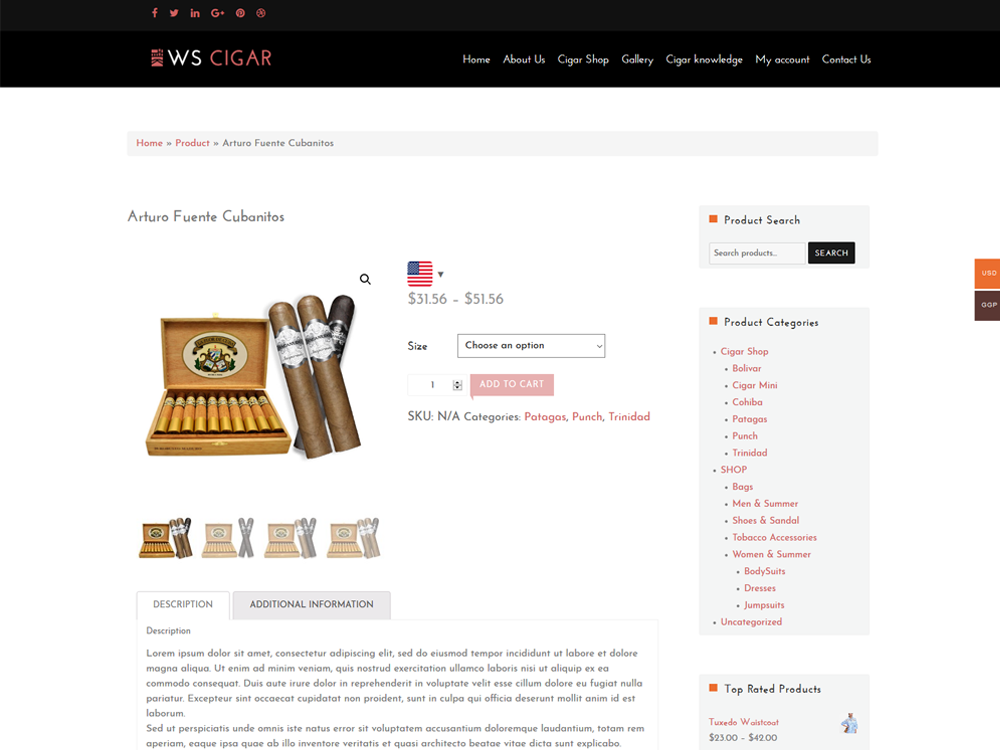 Cigar Shop Product Page