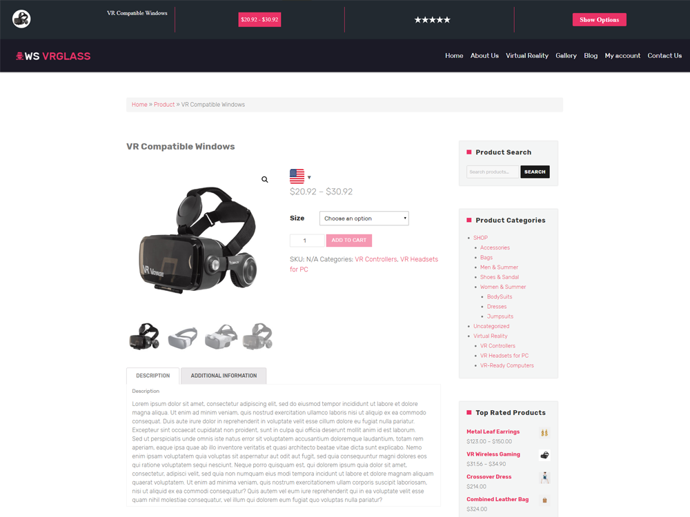 Virtual Product Page
