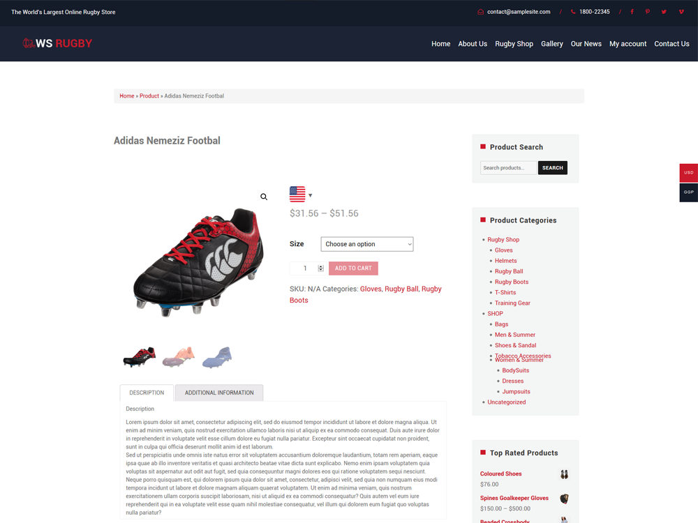 Football Product Page