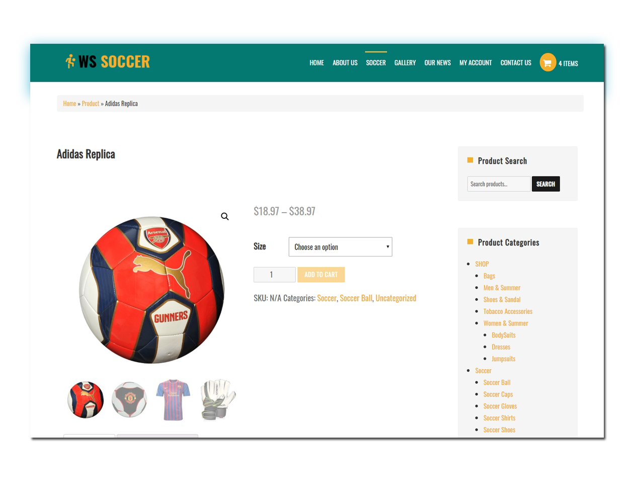 Soccer Product Page