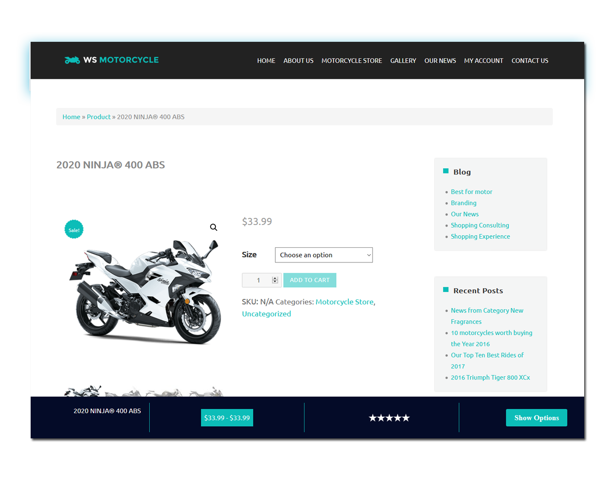 MotorBike Product Page