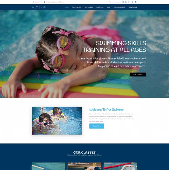 Swimming WordPress Theme