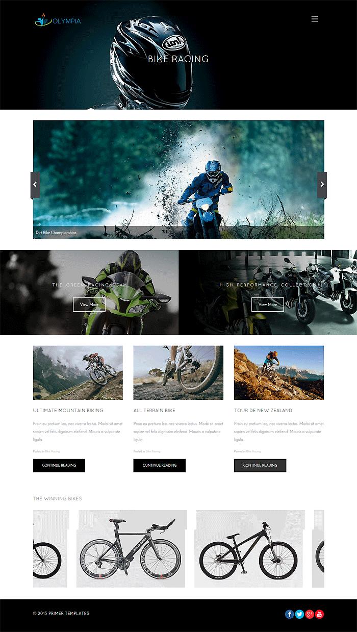 Olympia Joomla template - Racing Blog Screen