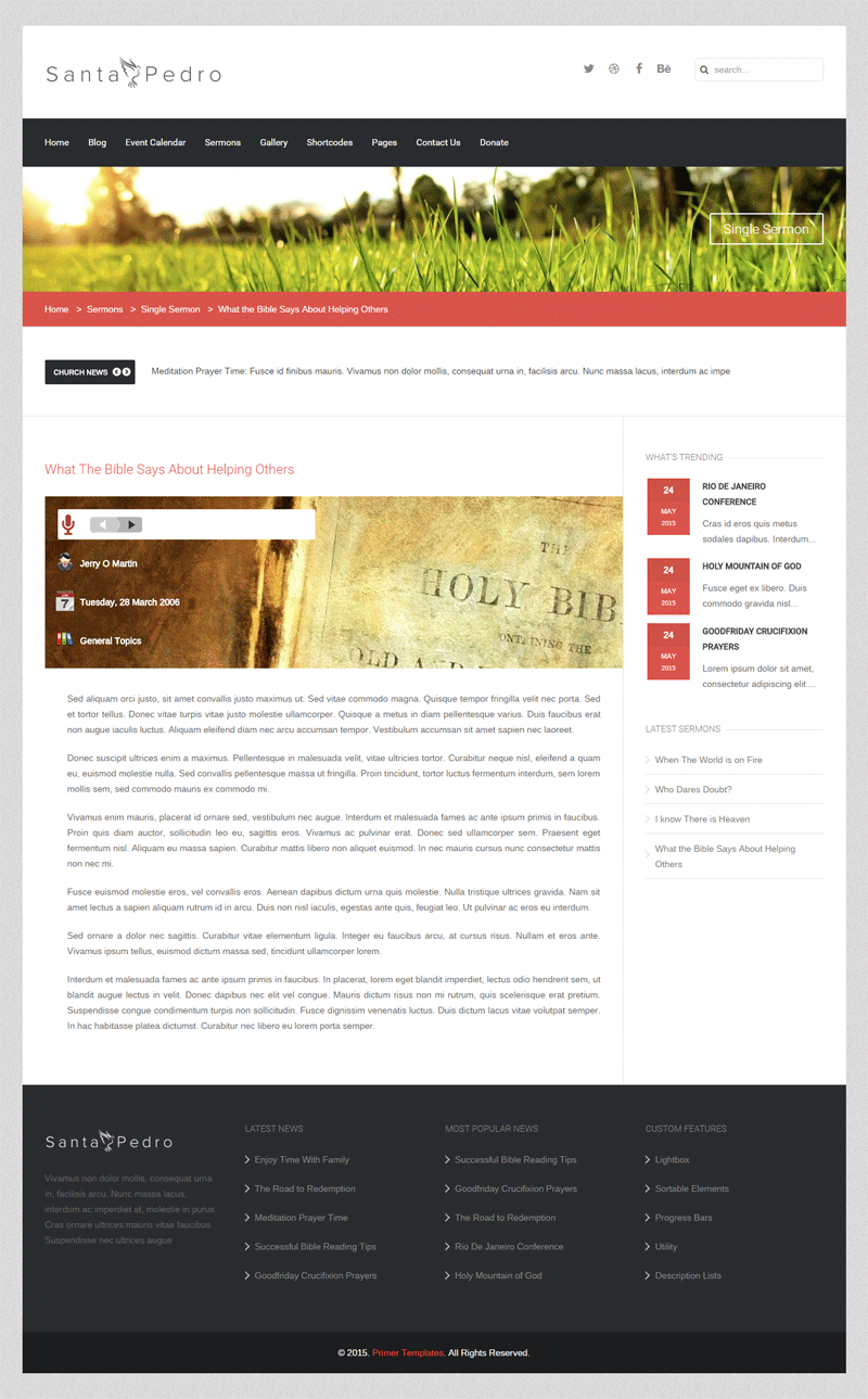 Santa Pedro Joomla template - Sermons Page Screen