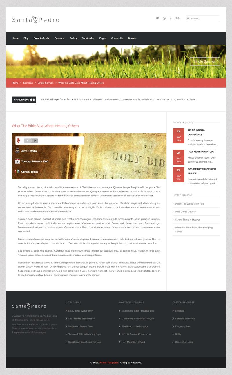 Santa Pedro Joomla template - Sermons Page Screen