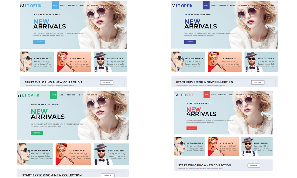 Optik Joomla template Color Styles