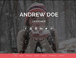 One Page HTML Portfolio Template - Kicksy