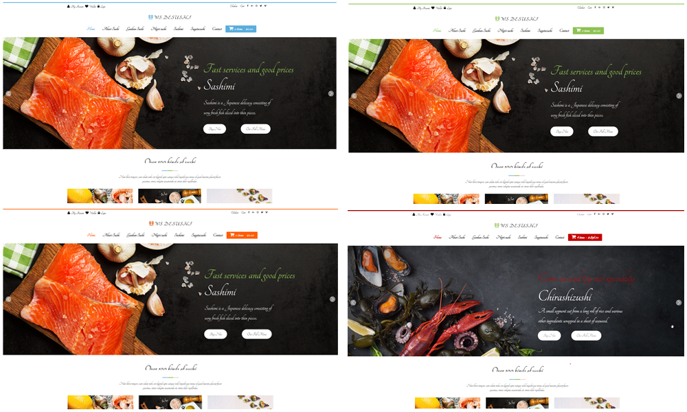 Sushi woocommerce wordpress theme colors