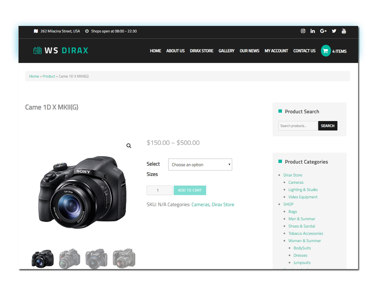 Dirax woocommerce wordpress Product Page