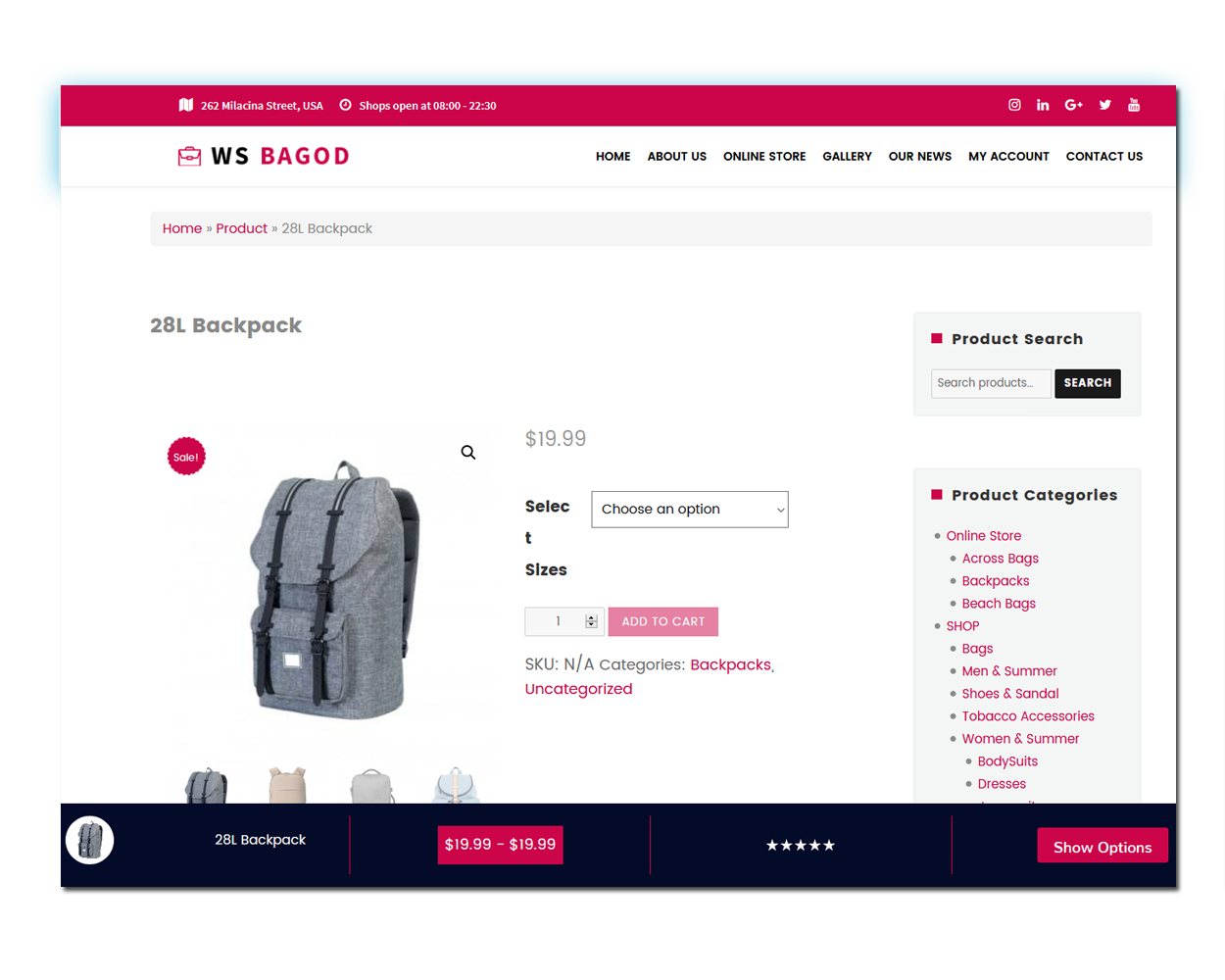 WS Bagod woocommerce wordpress Product Page