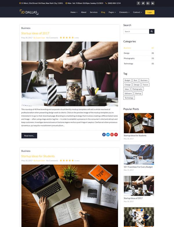 Dallas Blog Page Joomla! template
