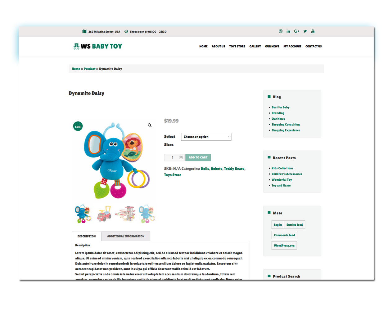 WS Toy woocommerce wordpress Product Page