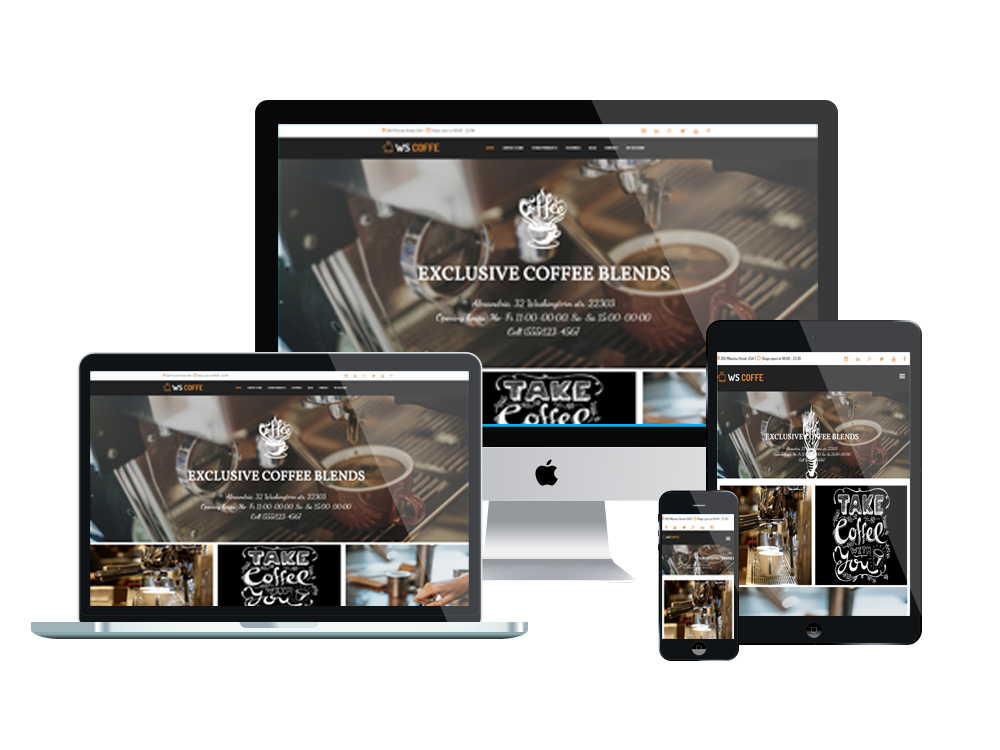 Coffee woocommerce wordpress mobile theme