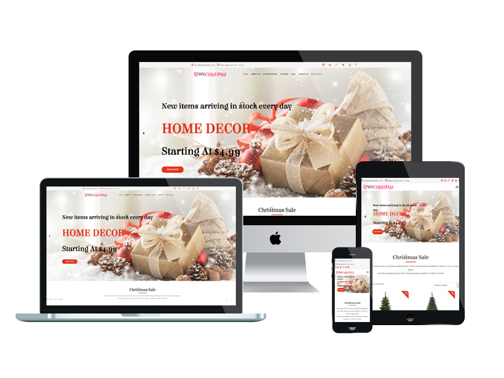 Christmas woocommerce wordpress mobile theme